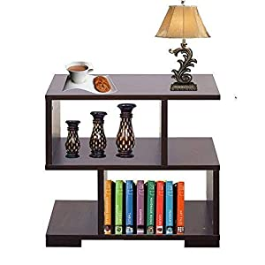 aaroora Multipurpose Engineered Wood Wenge Finish Storage Bedside End Table with Shelves, Classic Decorative MDF Cabinet and Standing Furniture Rack