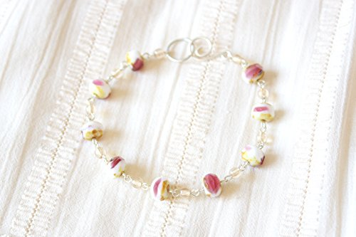 Cheesecake With Strawberry Jam Bracelet - Pink Yellow White Faceted Glass Beaded Sterling Silver Bracelet, Handmade Jewellery by Ikuri immortelle, FREE SHIPPING (Cheesecake Shipping)