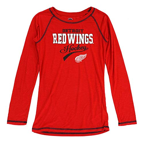 Detroit Red Wings Glitter - Outerstuff Detroit Red Wings NHL Girls Red Long Sleeve Slub T-Shirt