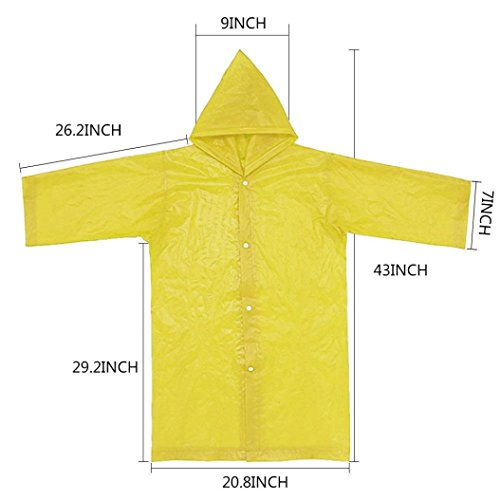 Tpingfe Portable Reusable Raincoats Children Rain Ponchos For 6-12 Years Old, 1PC (Yellow) by Tpingfe (Image #3)