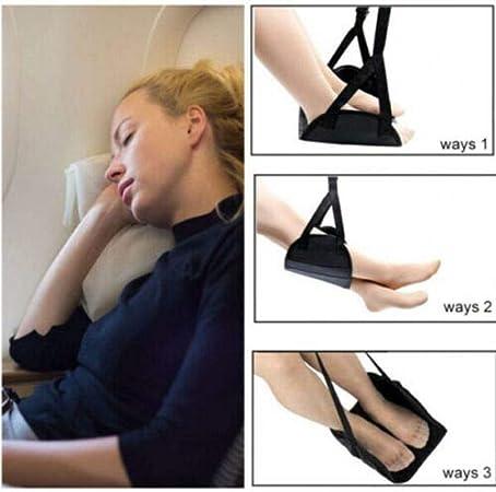 Noir Hamac Repose pieds,BESTZY Portable Hamac pour Pieds R/églable,Parfait pour Soulager Vos Pieds pour Voyage Bureau Maison Voiture Avion,Sac de Transport Offert.