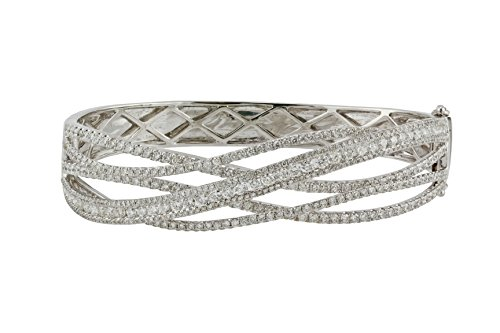 4.55tcw Round Clear Diamonds in 14K White Gold Overlapping Bar Bangle Bracelet - 6.5 inches