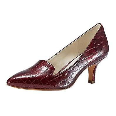 JENN ARDOR Women'sLow Kitten Heel Pumps Pointed Toe Slip On Dress Party Office Pumps Red Size: 5.5