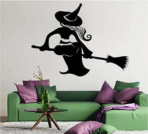 Scmkd Witch Broom Sticker Halloween Decoration Black DIY Wall Sticker Poster Wallpaper Party Living Room Bedroom Home Decor -
