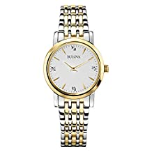 Bulova Women's 98P115 Diamond Silver White Dial Bracelet Watch