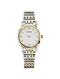 Bulova 98P115 Reloj Analógico para Mujer, color Blanco