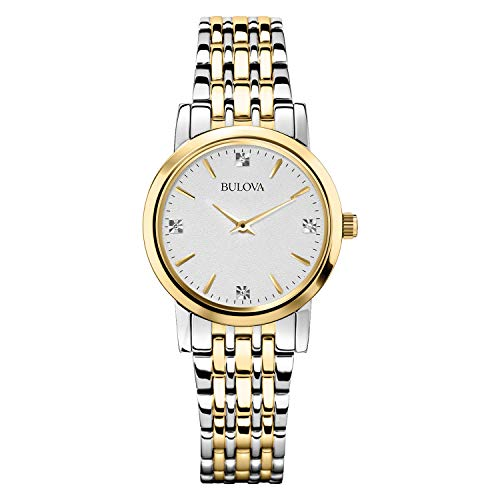 (Bulova Women's 98P115 Diamond Accented Silver-Tone Bracelet Watch )
