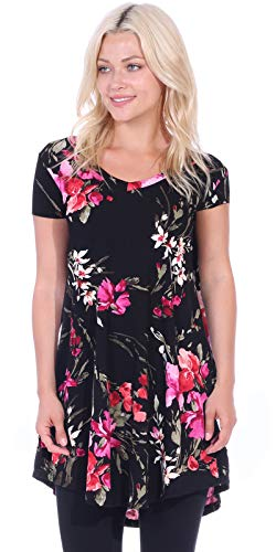 Popana Women's Tunic Tops for Leggings Short Sleeve Summer Shirt Made in USA Small ST98 Floral