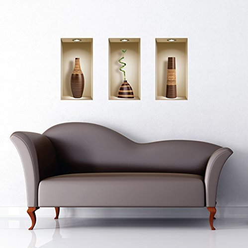 The Nisha Art Magic 3D Vinyl Removable Wall Sticker Decals DIY, Set of 3, Brown Vases by the Nisha (Image #9)