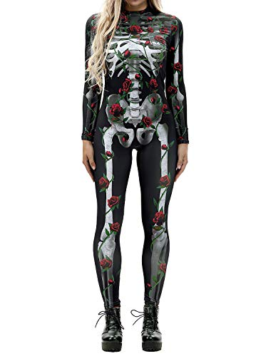 Auremore Women's 3D Skeleton Print Bodysuit Costumes Cosplay Jumpsuits Rompers Rose Skull S]()