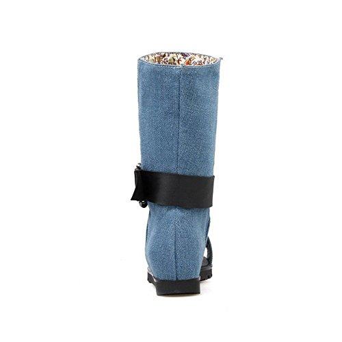 Mujeres Puntera Sin Sandalia Tacón AllhqFashion Azul cordones Sólido Abierta Lana Mini BqwBdTSZH