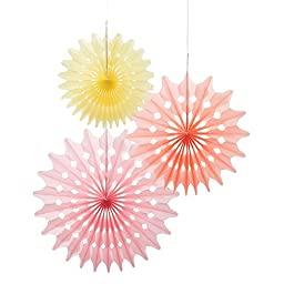 Talking Tables Decadent Decs Hanging Fan Décor  for a General Decoration, Multicolor (3 Pack)