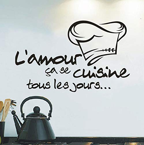 Dalxsh DIY Kitchen Stickers Cuisine Sticker Vinyl Decal Tile Chef Wall Decor Stickers Muraux Pour Enfants Chambres Duvar Sticker Room 58x36cm]()