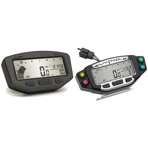 Vector Speedometer - Trail Tech 752-600 Stealth Black Vapor Computer and 022-PDA Vapor/Vector/Striker Indicator Dashboard Bundle