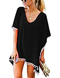 e2f6919c69 Women's Pom Pom Trim Kaftan Chiffon Swimwear Beach Cover Up