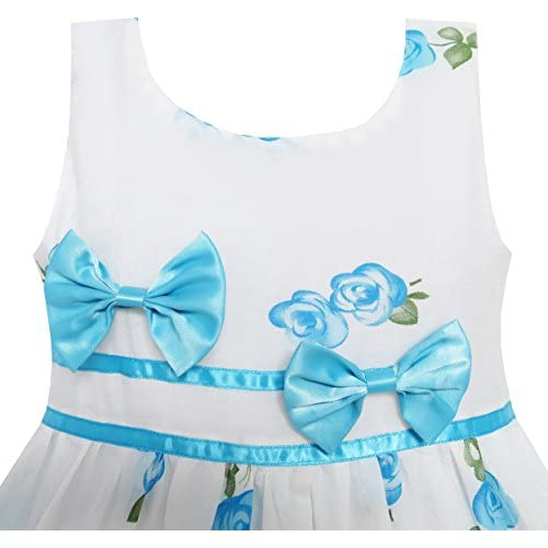 b76ed867f03 ... Occasion Sunny Fashion Girls Dress Rose Flower Double Bow Tie Party  Sundress. Sale!