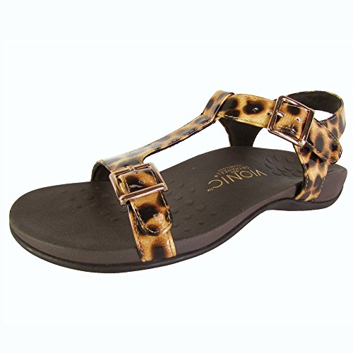 Vionic Orthaheel Womens Adriane T Strap Sandal Shoes, Tan Leopard, US 7