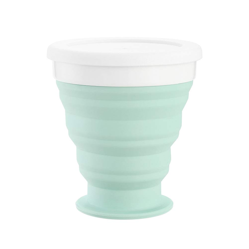 Gyswshh 250ml Collapsible Travel Hiking Foldable Silicone Drinking Water Cup Coffee Mug Light Green