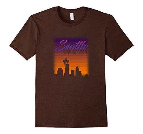 Men's Seattle Washington Sunset Skyline T-Shirt - City Urban View Large Brown (City View Shirt)
