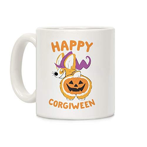 LookHUMAN Happy Corgiween! White 11 Ounce Ceramic Coffee Mug -