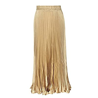 LIYT Women's Fashion Metallic Luster Pleated Long Skirts
