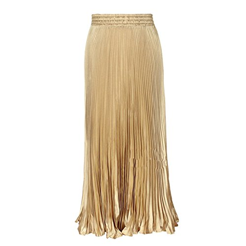 LIYT Women's Fashion Metallic Luster Pleated Long Skirts (Cotton Metallic Skirt)