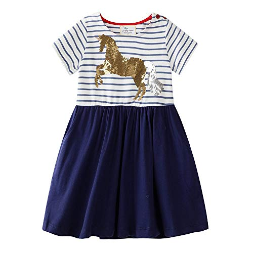Hongshilian Little Girls Cotton Casual Dress Cartoon Print T-Shirt Short Sleeve Skirt Dresses(6T,Unicorn & Sequins)
