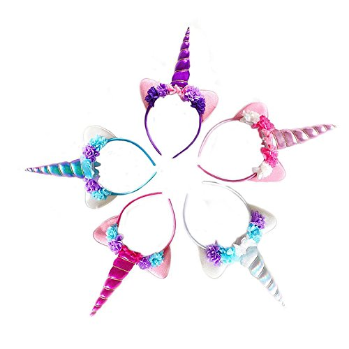 Zeekoo Unicorn Party Supplies Set,Baby Unicorn Horn Headband Rose Flower Hairband Animal Photo Props with Glitter Ears,Unicorn Birthday Cosplay for Girls Children Gift Halloween Party Costume(5 Pack) by Zeekoo