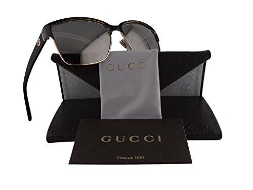 Gucci GG 4263/S Sunglasses Gold Black w/Gray Ivory Mirror Lens LOYUE - Gucci Gold Sunglasses Mirror