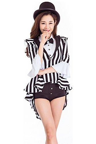 Obtai Women's Gothic Tailcoat Punk Jacket Tuxedo Black and White Stripe Suit Coat Victorian Costume (Medium)