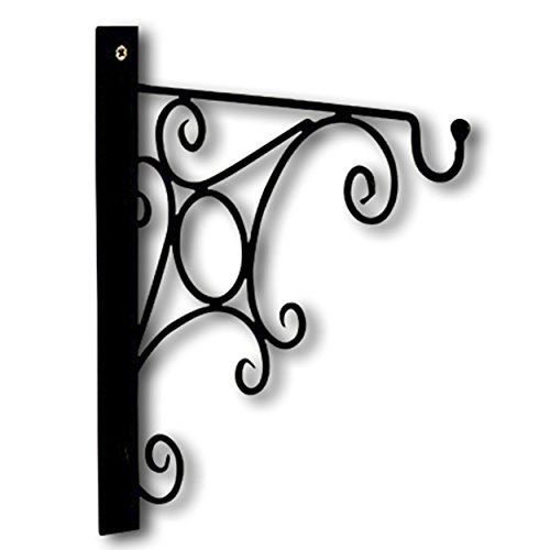 WHW Whole House Worlds The French Country Style Wall Hook Bracket, Iron, Scrolling Arabesque in Circle Curls Design, 12 1/2 L x 1 1/4 W x 11 3/4 H inches, Screw On, for Hanging Plants or Lanterns ()