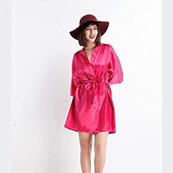 Minyine Ropa de Dormir Bata de Cama para Mujer Simulación Seda Kimono Bata Elegante Color Puro