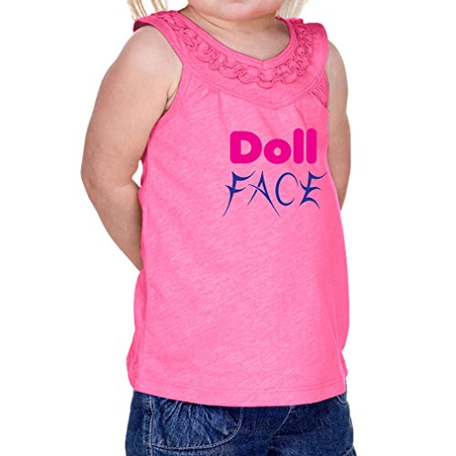 Cute Rascals Doll Face 60/40 Cotton/Polyester Tank Ruffle Neck Girl Infant Jersey Tee Yoke - Hot Pink, 18 Months (Baby Sleeveless Doll Tee)