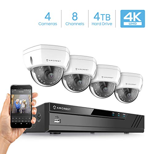 Amcrest 4K 8CH Security Camera System w/ 4K (8MP) NVR, (4) x 4K (8-Megapixel) IP67 Weatherproof Metal Dome POE IP Cameras (3840×2160),Pre-Installed 4TB Hard Drive (White)
