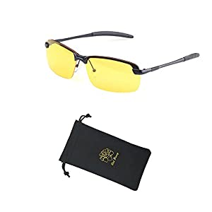 Red Peony Night Vision Sunglasses, Yellow Night Vision Square Rimless Anti Glare Polarized Sunglasses Safe Night Vision AORON Design
