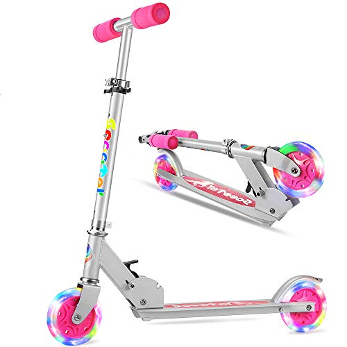 OUTON Folding Kick Scooter 2 Wheel Kids Scooter, 3 Adjustable Height, LED Light Up Wheels Scooter for Kids Ages 5+ Pink