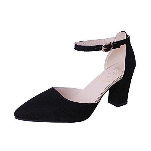Le Nouvel Escarpin Chaussures d'été sauvage talons hauts à bout à fente Sangle Sandales creux avec Bold, Noir, 34