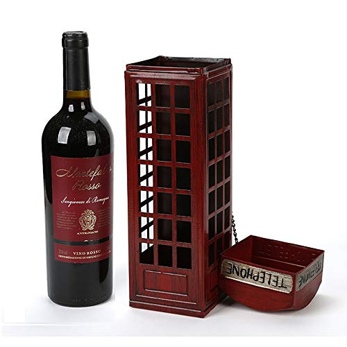 Creative Phone Booth Retro Old Metal Wine Rack Home Restaurant Desktop Bar Photography Props Crafts Wrought Iron Living Room Porch Ornaments Wine Red Personality