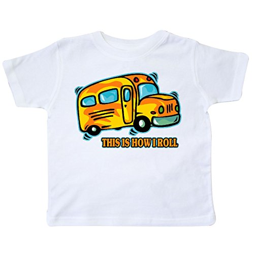 inktastic - How I Roll School Bus Toddler T-Shirt 2T White (Toddler School Tee)