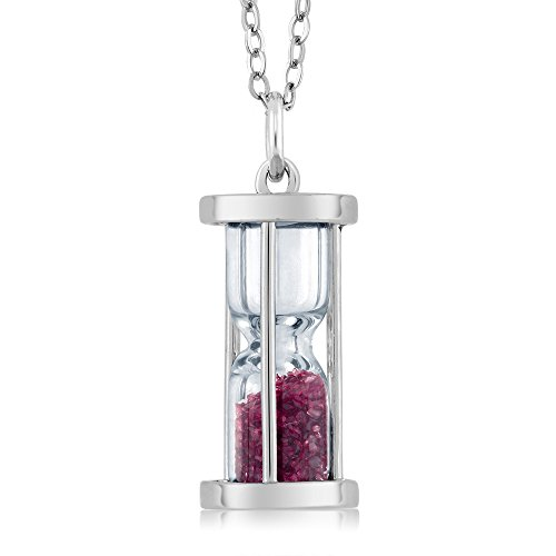 Gem Stone King 925 Sterling Silver Hourglass Pendant with Enhanced Pink Tourmaline Dust 18inches Complimentary Chain