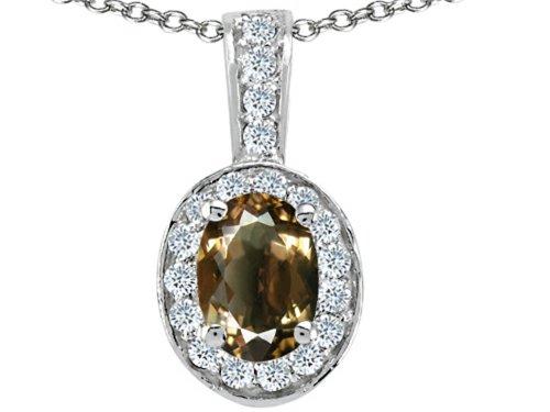 Tommaso Design Oval 8x6mm Smokey Quartz Pendant Necklace 14 kt White (Gold Smokey Quartz Necklace)