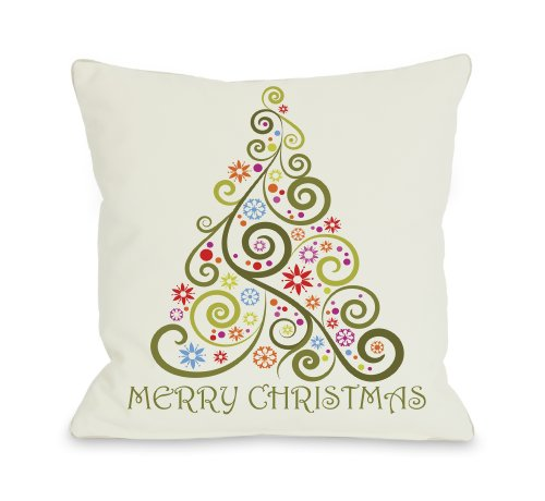 """One Bella Casa Merry Christmas Whimsical Tree Throw Pillow by OBC, 20""""x 20"""", Multi from One Bella Casa"""