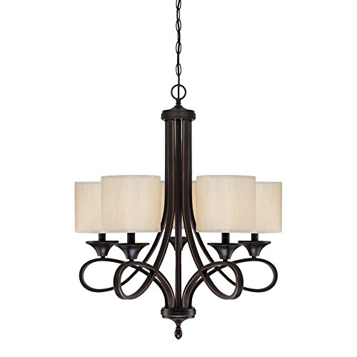Westinghouse 6302900 Lenola Five-Light Indoor Chandelier, Amber Bronze Finish with Beige Fabric Shades