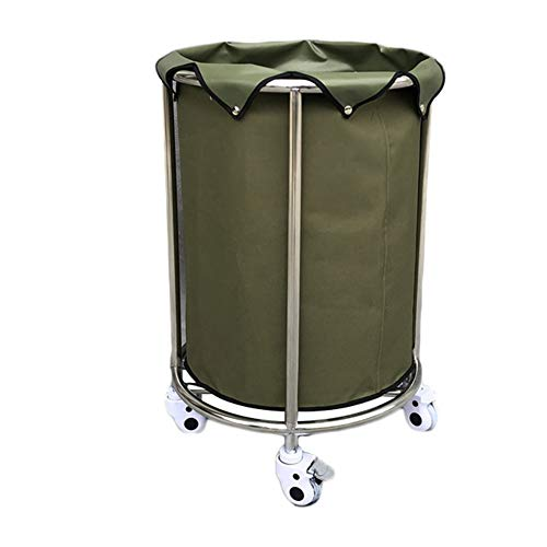 Laundry Container on Wheels for Hotel Lobby Room, Household Commercial Laundry Sorters Cart for Dirty Clothes Storage - Green (Color : Green, Size : Round(55×84cm))