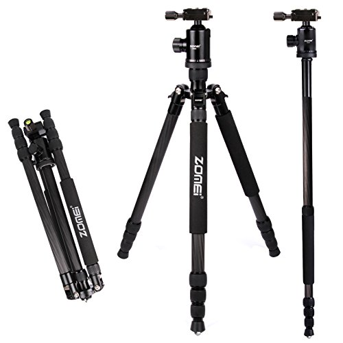 Z888C Travel Carbon Fiber Tripod with Bag by ZOMEI (Black)-Light Weight and Bonus Built in Monopod-FREE eBook (22 Carbon Fiber Carry On Luggage compare prices)