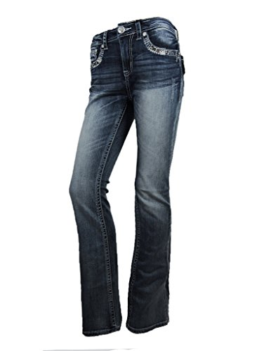 Crystal Pocket Stretch Jeans (Grace L.A. Idol Women Bootcut Jeans Cross Faux Flap Pocket Stretch in Med Blue)