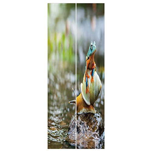 3d Door Wall Mural Wallpaper Stickers [ Funny,Cute Colorful Frog Above the Snail Riverscape Water Rock Mollusks Amphibian Animals,Multicolor ] Mural Door Wall Stickers Wallpaper Mural DIY Home Decor