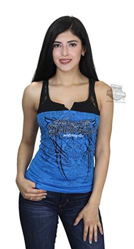 Harley-Davidson Womens Dark Ride Foil Studded Lace Yoke Blue Tank - MD (Harley Davidson Womens Sleeveless)