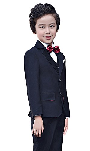SK Studio Boys' 4 Piece Dress Party Wedding Suits With Bow Tie Black by SK Studio