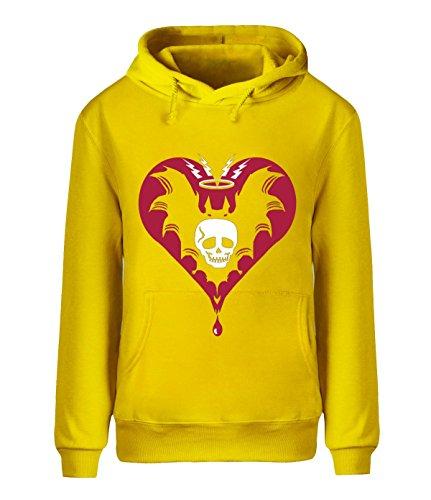 Eagle u2 Men's Autumn Hoodie Sweatshirt Heart skull yellow